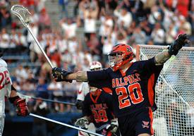 Midfielder Tim McDonald '10 celebrates after scoring in the State Championship
