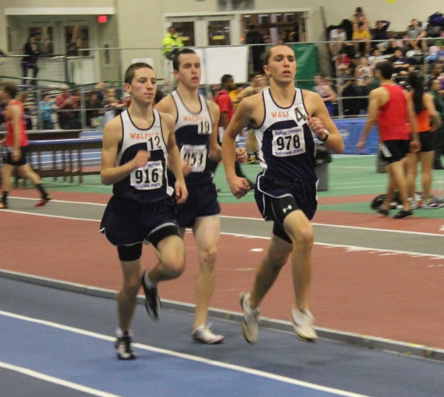 Juniors Chris Conley and Ryan Morris, with senior Dave Wians, sprint to the finish in their victory.  (Photo/Casey Ganshirt)