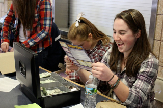 Junior Student Council representative, Suzy Gallivan laughs at the results from her Matchmaker survey.