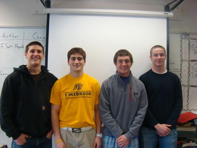 Boys Lacrosse Captains Matt Niden, Kyle Guilbert, Chris Norberg, and Rob Prindall.