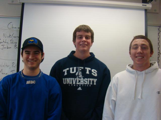 Boys Baseball Captains Troy Salvatore, Tom Ryan, and Jimmy Adams.