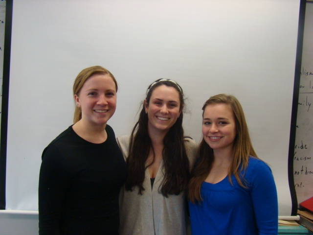 Girls Lacrosse Captains Kim Walsh, Cecelia Abely, and Sarah Buckley.