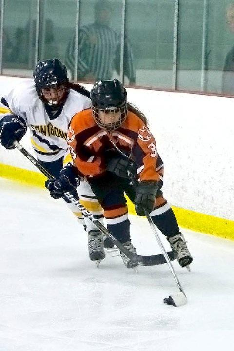 Sophomore Michaela Tosone fights off a Fontbonne player for the puck.