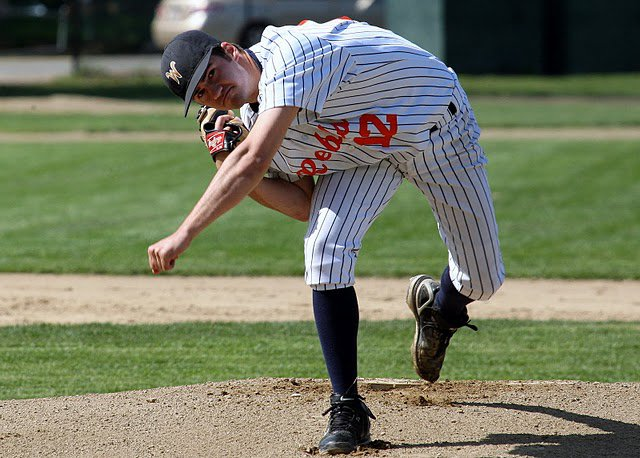 Meaney throwing to the plate on may 13th.