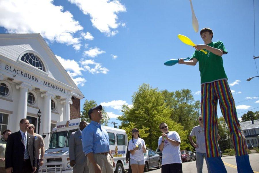 Last year, a local juggler performed for Deval Patrick