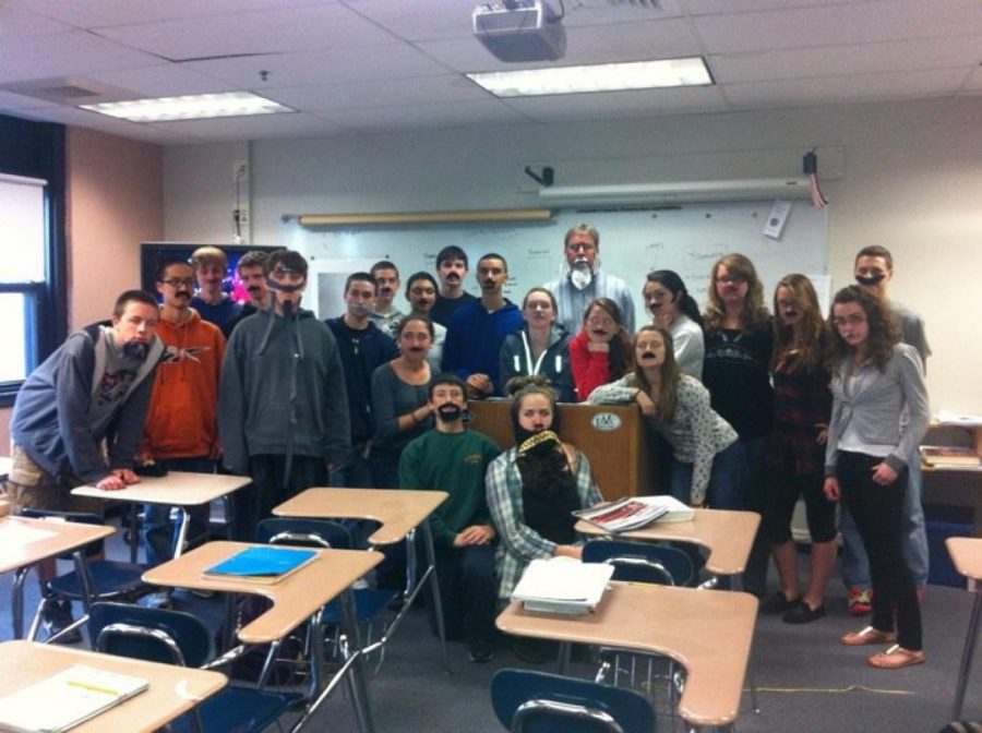 "Mr. Waisgerber poses on ""Civil War Beard Day"" with his AP U.S. History class."