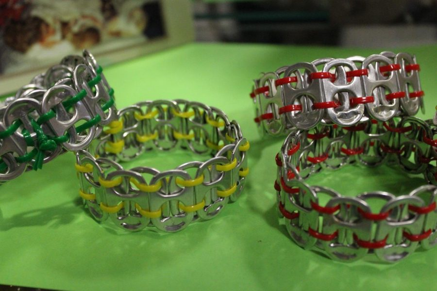 Examples of the Soda Tab bracelets being sold by the Animal Shelter Club