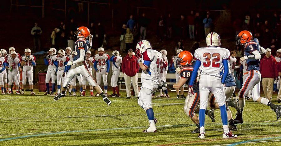 The sophomore kicker celebrates after hitting the game winning 25 yard field goal. (Photo/Tim Hoffman)