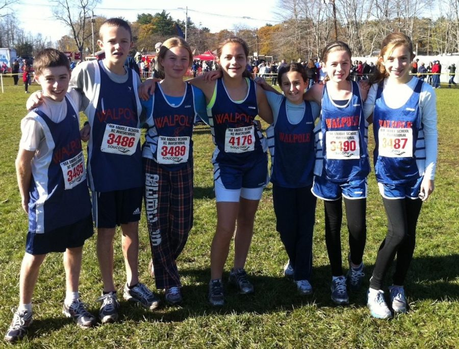 Middle school runners prepare before their race.