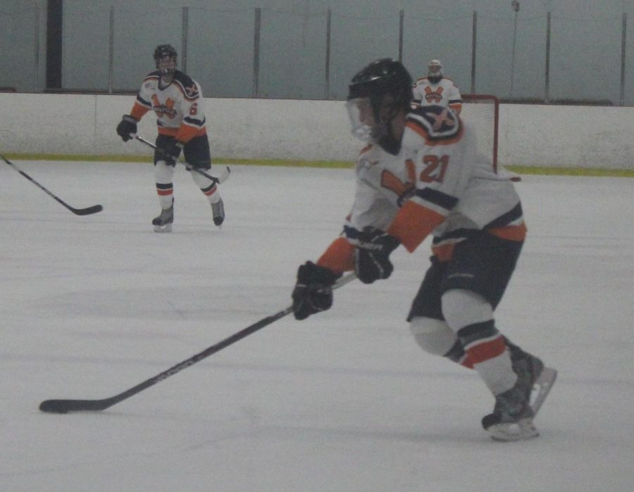 One of Walpole's young forwards crosses the blueline against Newton North. (Photo/Jennifer Harrop)