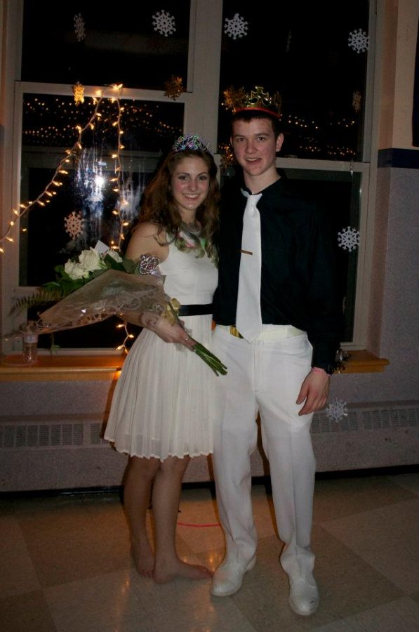 The Winter Ball Princess and Prince pose for a picture.