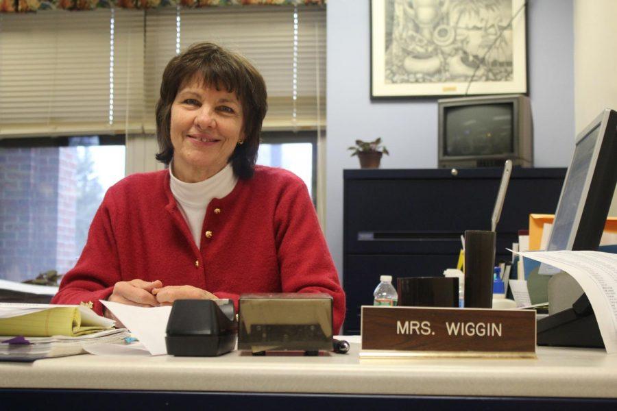 Mrs. Kathleen Wiggin enjoys her final days in the office before retirement
