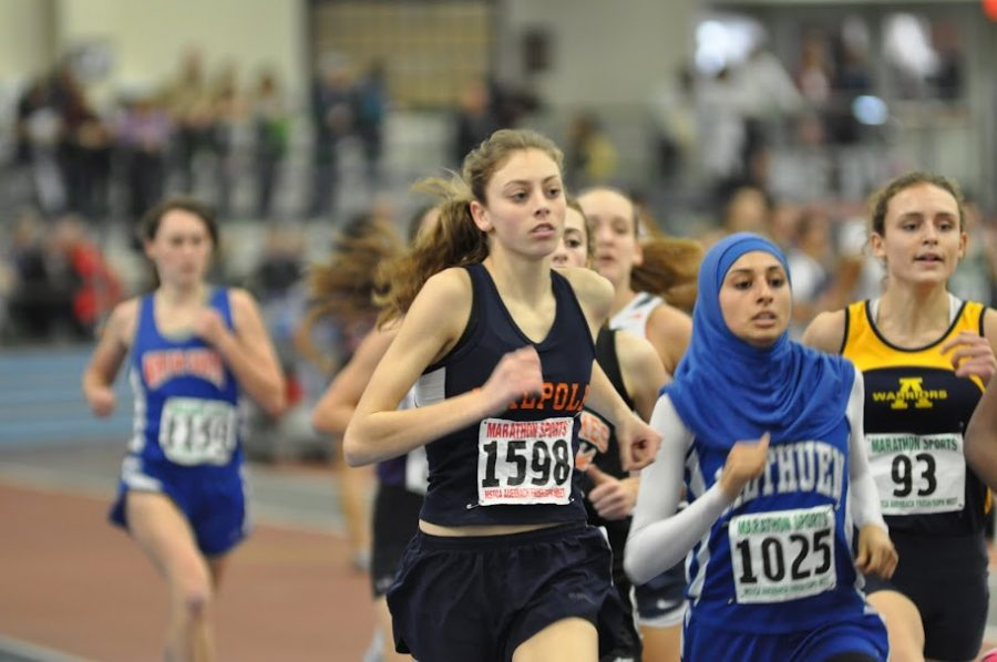 A sophomore Walpole runner places second in the 1000m at the Freshman-Sophomore Meet.