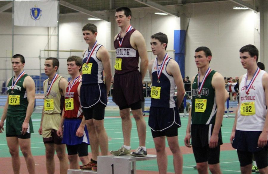 Two Walpole hurdlers earn their medals for 2 and 3 place.