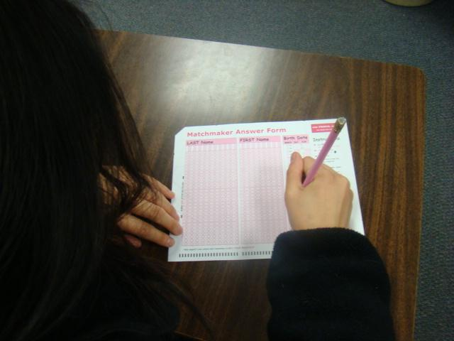 A student takes the MatchMaker survey in advisory