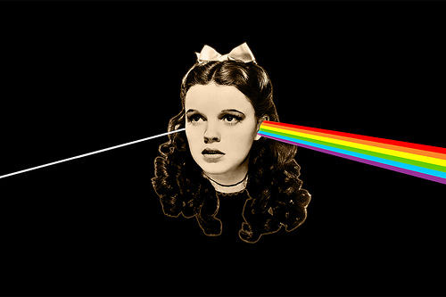 A graphic interpretation of the Dark Side of the Rainbow phenomenon.