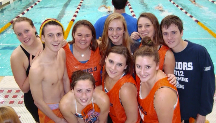 The seniors of the Walpole High School Swimming and Diving team