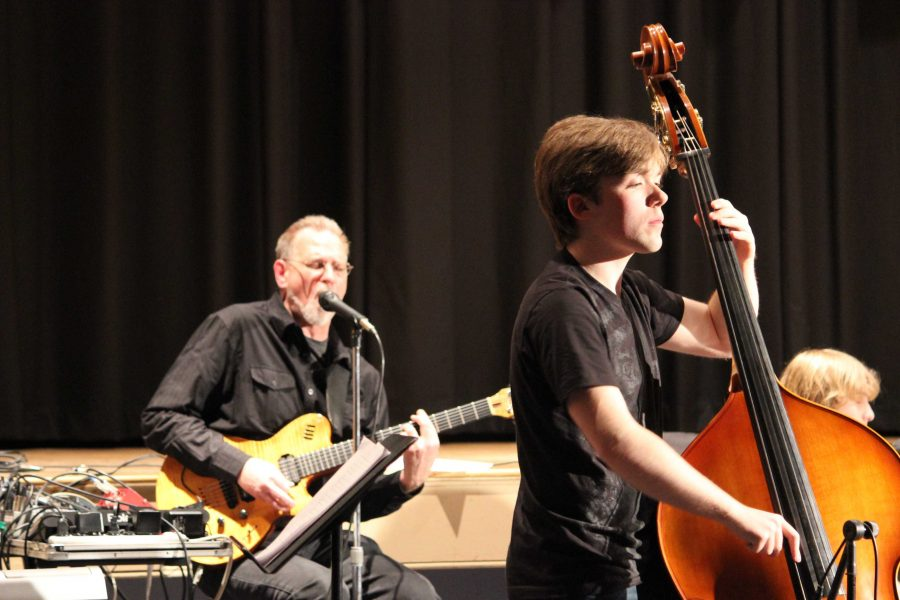 Mr. Strick and Steven Salenick during the band performance.