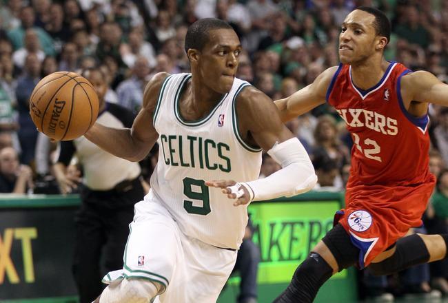 Rajon Rondo driving to the basket.