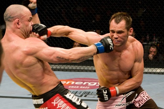 Two UFC fighters go after each other.