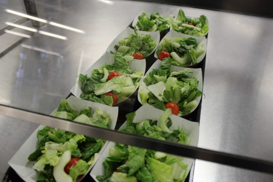 Fresh green salads are up for grabs in the lunch room. (Photo/Dana Morrone)