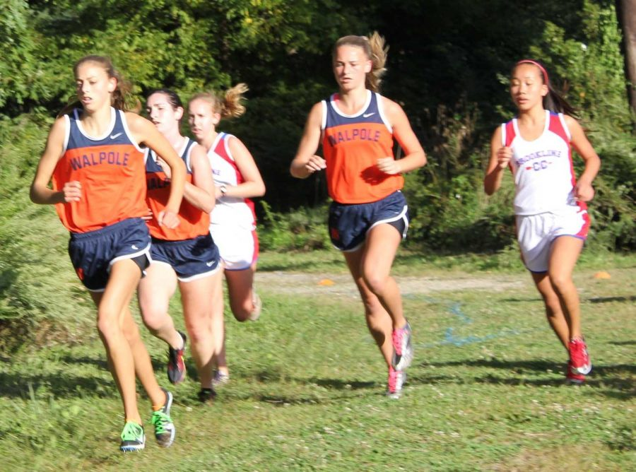Walpole girls cross country team competes against Brookline.