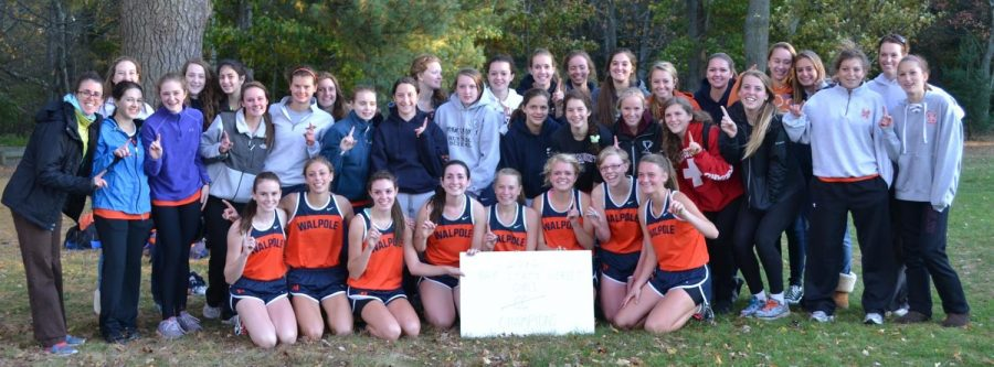 The girls cross country team after winning the Herget.