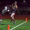 Walpole's Tight End has been a monster this year as he hauls in a pass from a previous game. (Photo/ Tim Hoffman)