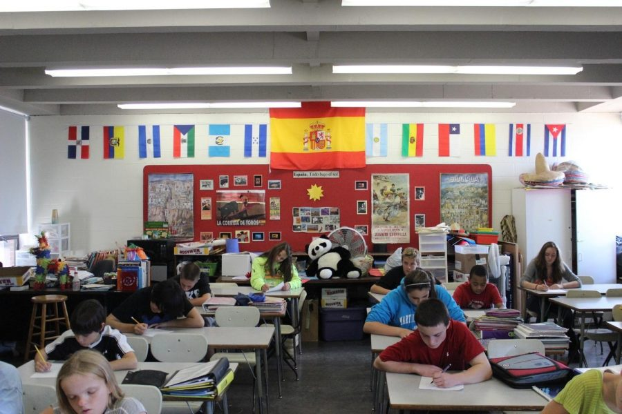 Johnson Middle School students take a Spanish exam in Senora Stuart's class.  If the override did not pass, students would not take a Foreign Language until high school.