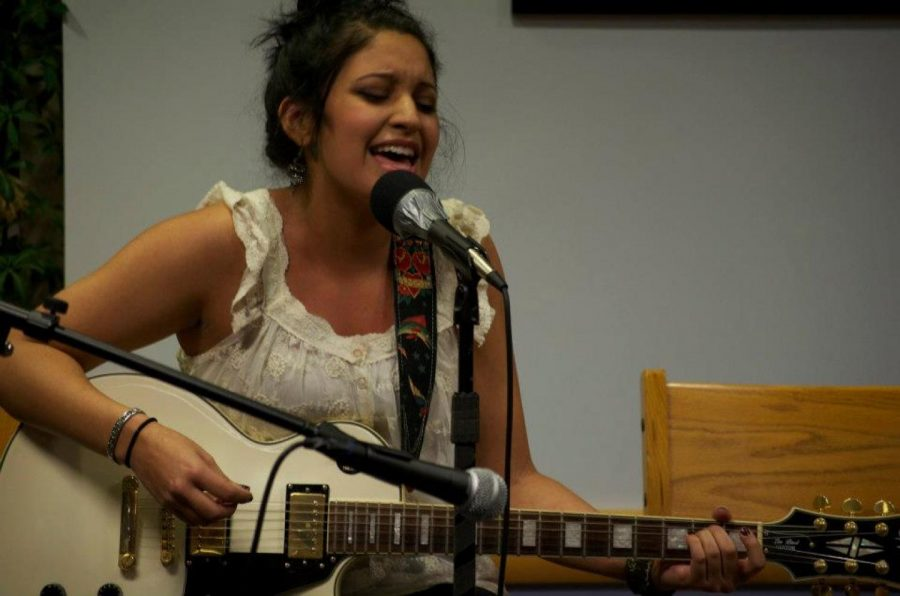A Walpole High student performs at the Coffee House