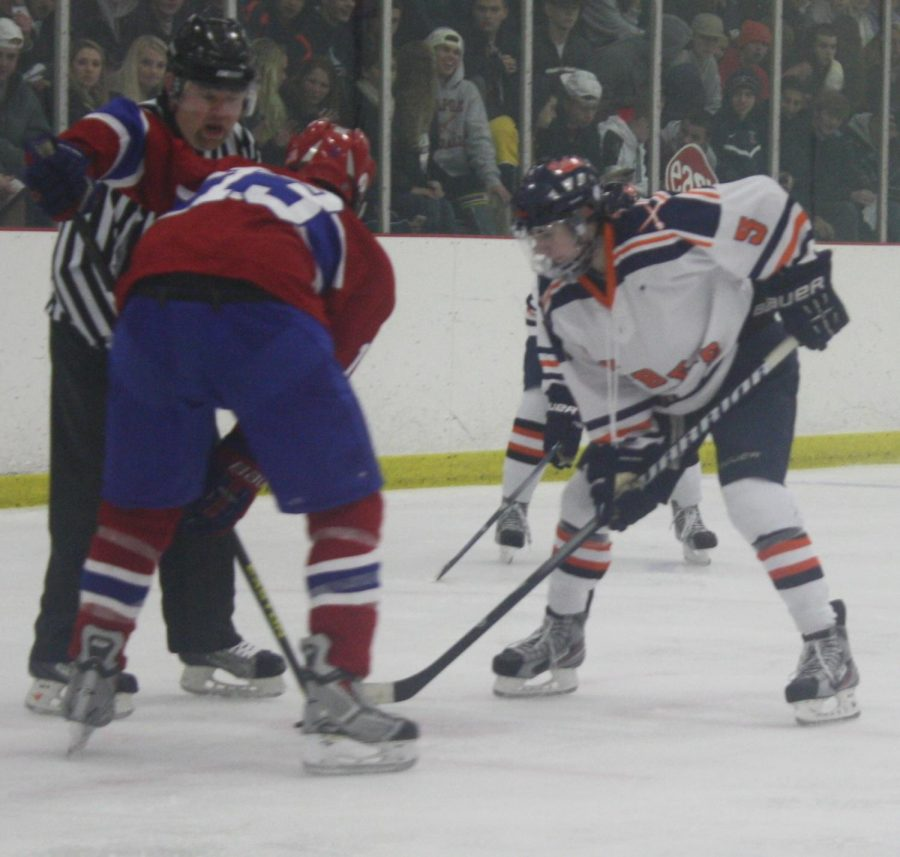 Walpole Rebel forward gets ready for the face-off