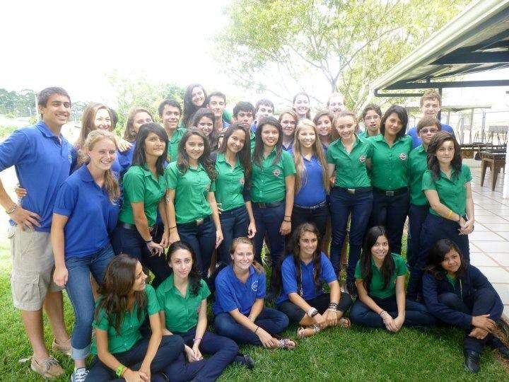 The Costa Rican and U.S. students pose for a picture this summer in Costa Rica.