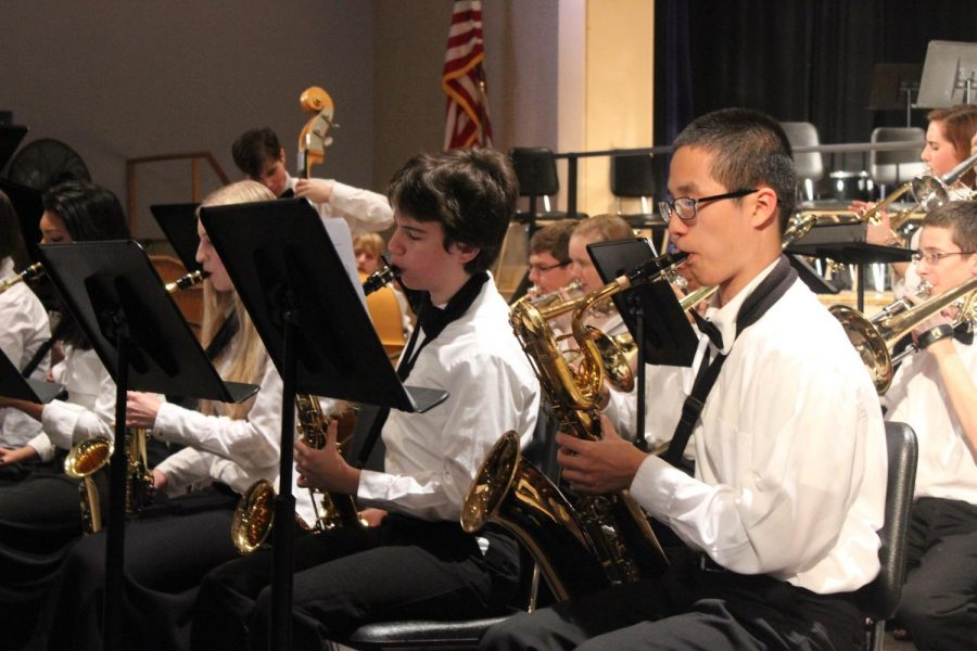 Members of the Walpole High Jazz Band perform at the Winter Concert.