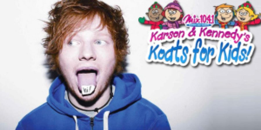 Singer Ed Sheeran partakes in a contest for raising coats for kids.
