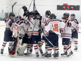 Boys Hockey hopes to celebrate another win like this in their first-round matchup against Norwood.