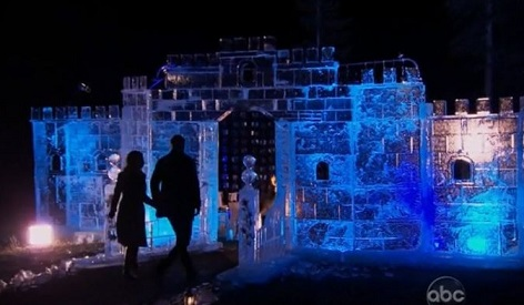 Sean leads one of the bachelorettes into a romantic ice castle.