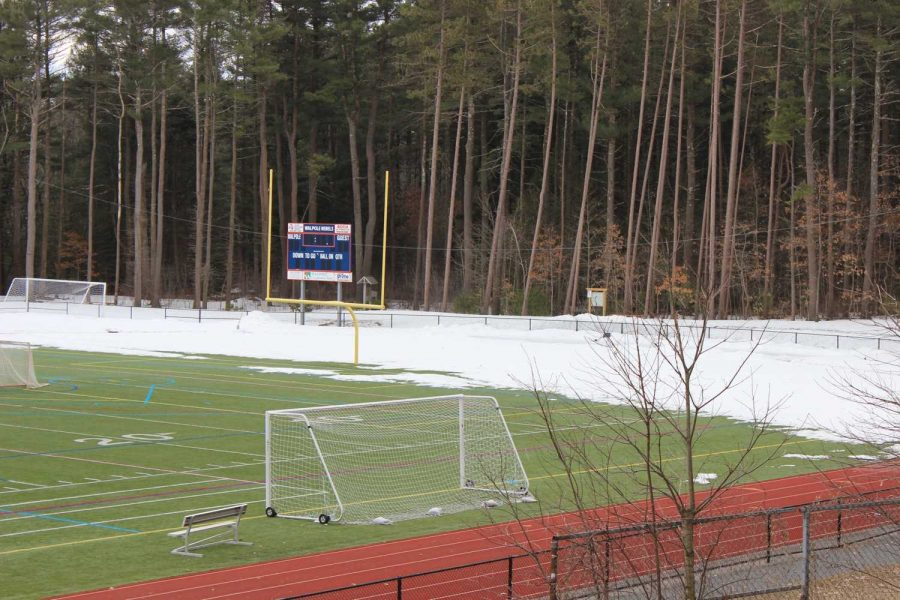 Snow covers one third of the Walpole track.
