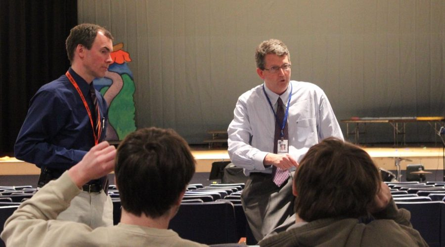 Principal Imbusch and Superintendent Lynch answer questions from students about the cameras.