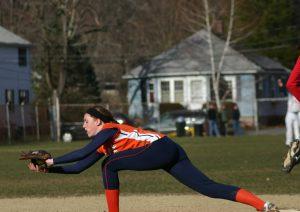 First baseman reaches for a throw.