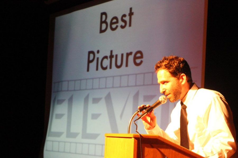 Mr. Alan presents the award for Best Picture at Film Festival Awards Night.