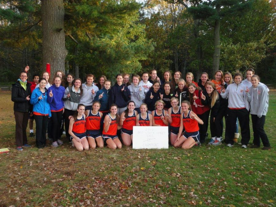 Walpole Girls Cross Country Team after winning the Herget Title in 2012.