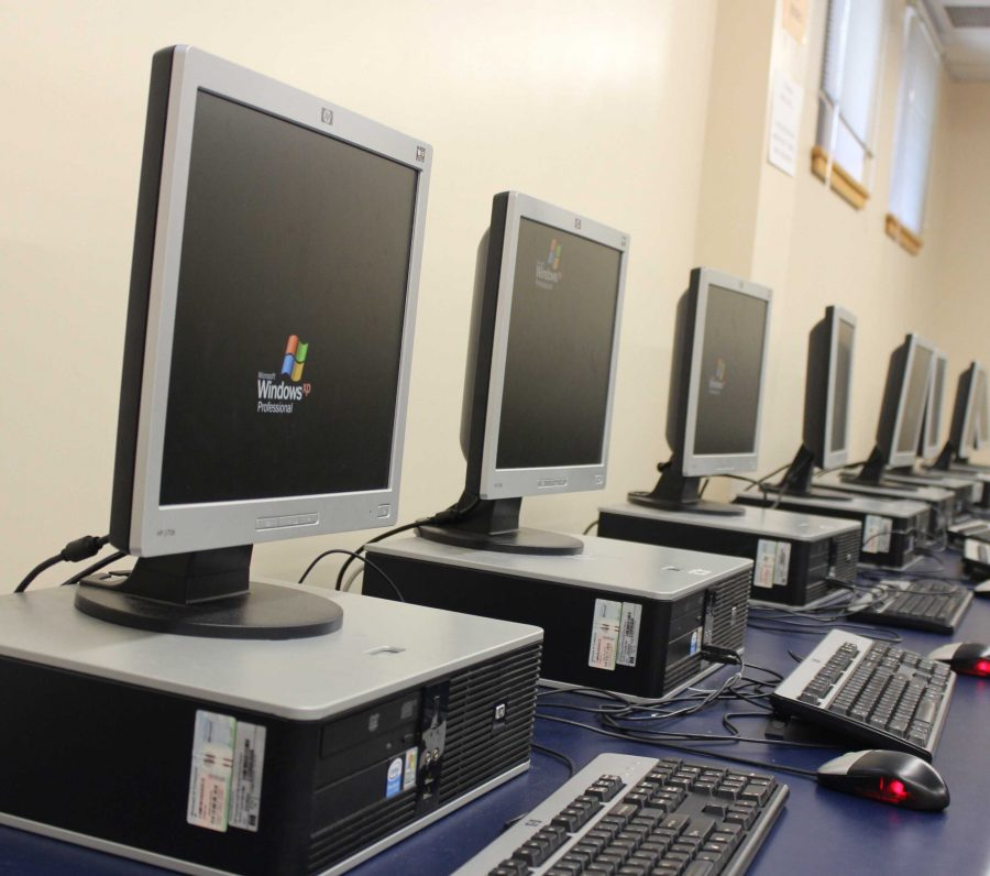 New computers were put into the library computer lab to replace the damaged ones.