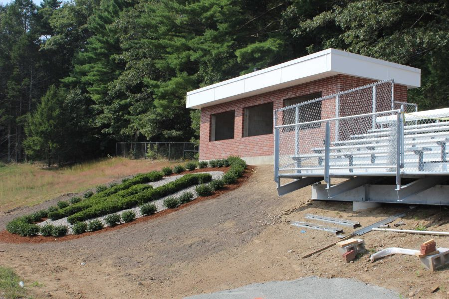 The newly constructed press box is in place at Walpole High School.