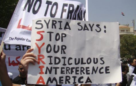 Syrian citizens protest against US involvement in their country.
