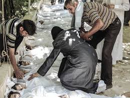 Syrians line up to mourn people killed by Assad's chemical weapons attack