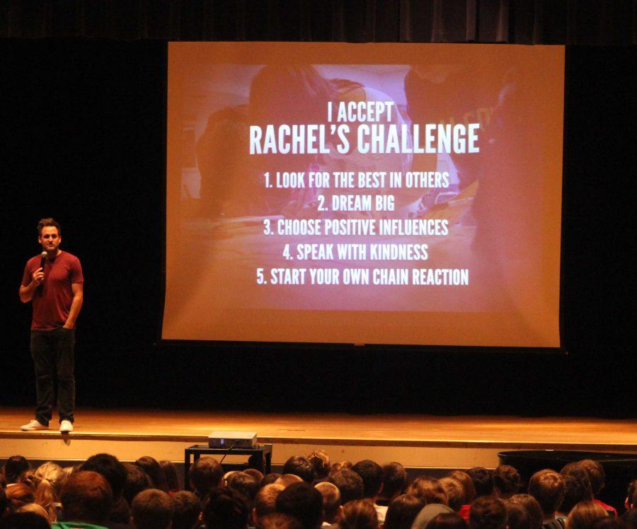 The speaker for Rachel's Challenge presents the program's five challenges for students.