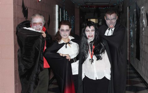 Science wing teachers show off their Halloween costumes.