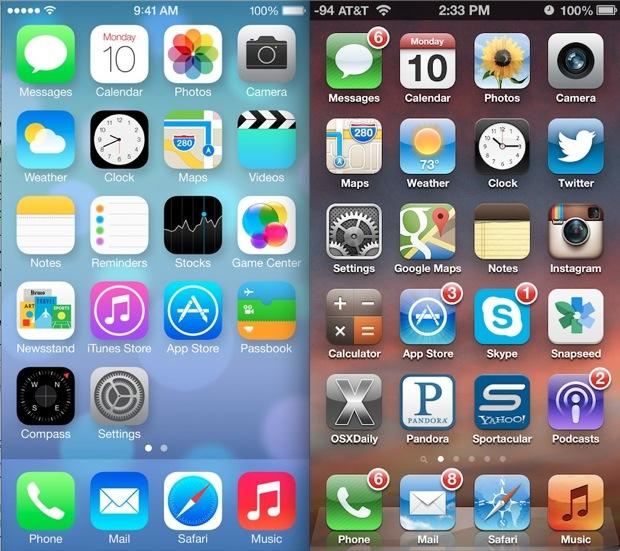 Side-by-side comparison of iOs7 and iOs6 homescreen