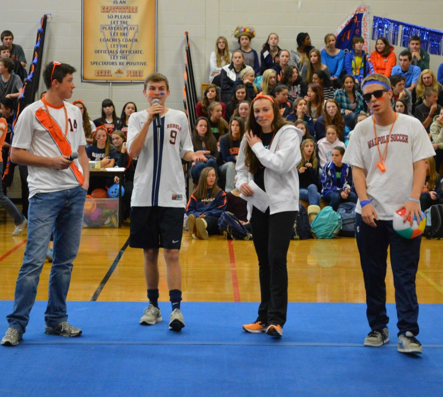 The Student Council E-Board speaks to the crowd at the Pep Rally.