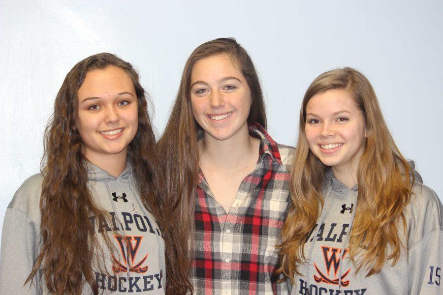 Senior Captains Kaylin Hallet, Jenna Donahue, and Caitlin Barry.